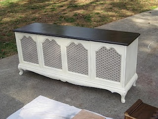 Stereo cabinet turns buffet or console/sofa table