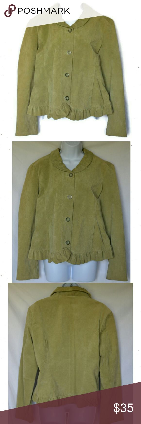 "Christopher & Banks Suede Jacket Christopher & Banks Suede Celadon Green  Jacket, size XL. Ruffled trim, lined and  two front slip pockets. L 22"" B40"" W 38"" - 40"". EUC (22) Christopher & Banks Jackets & Coats Blazers"
