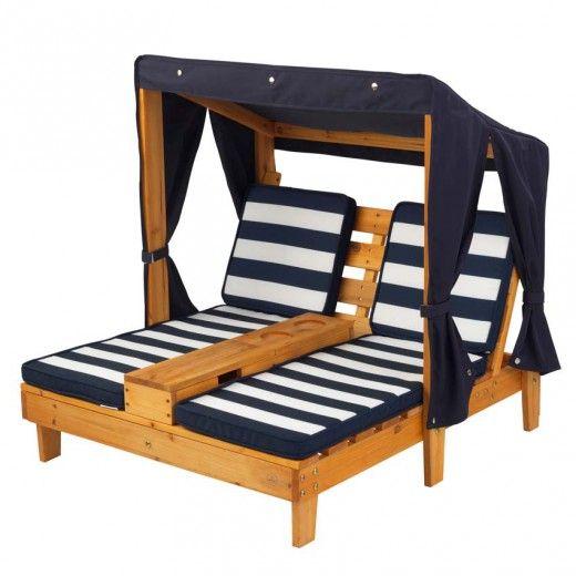 Double chaise longue avec porte-gobelets