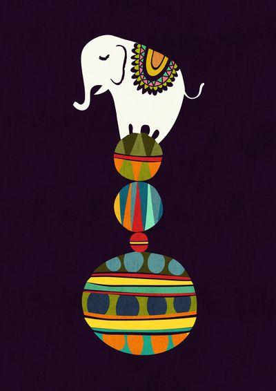 Elephant Circus Art Print                                                                                                                                                                                 More