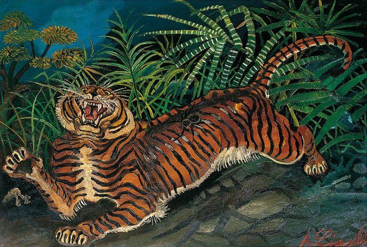 Antonio Ligabue (1899-1965) Tigre con ragno (1953)