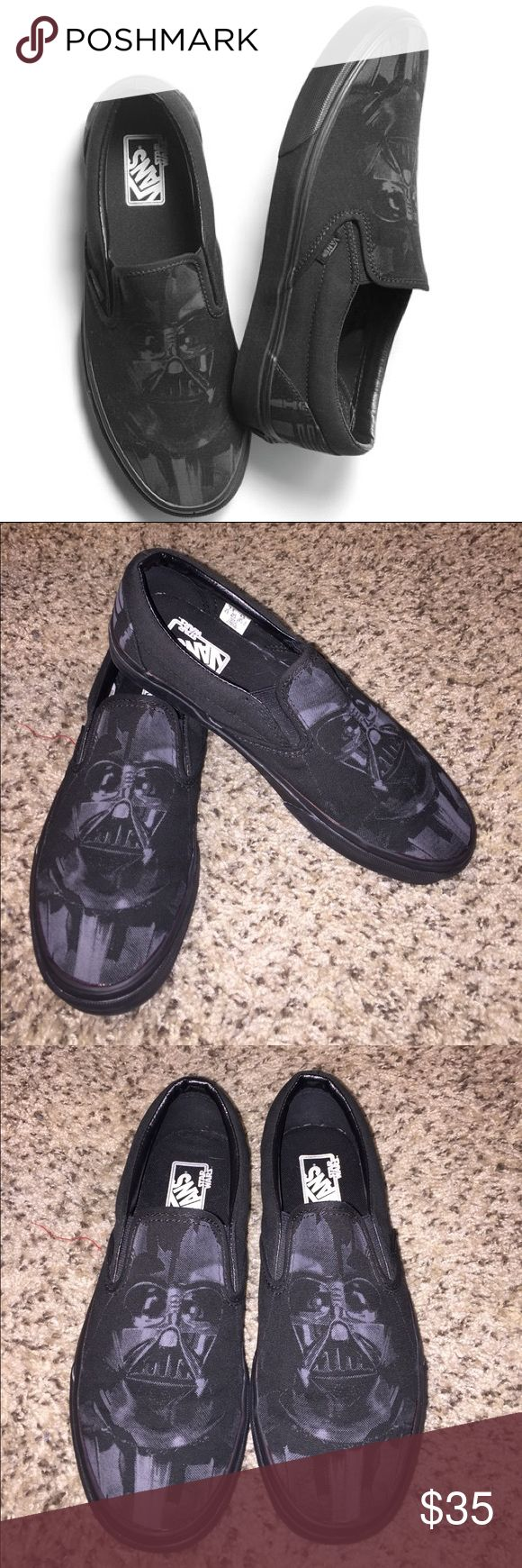 """Vans x StarWars Vader Slip ons Limited edition Star Wars """"dark side"""" collab. Impossible to find now. Wore these twice but they're too small and I'm very sad to let them go. No tears or stains. No wear to the sole. Been sitting in the back of my closet for 3 years untouched. Price firm on all my vans shoes. Vans Shoes Sneakers"""