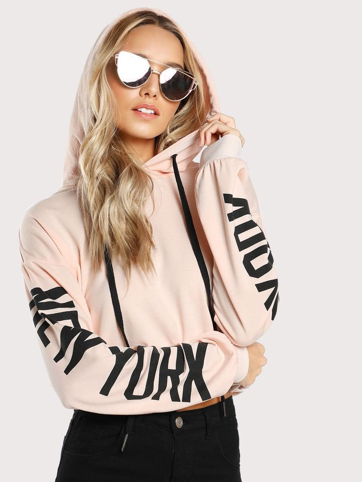 New York text sleeve hoodie sweatshirt