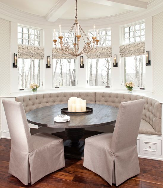 updated traditional : tufted banquette seating : window treatments : table