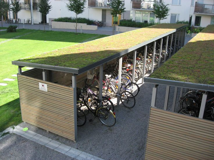Green roof above bike parking