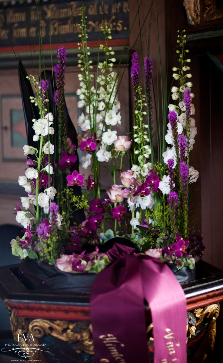 Sympathy flowers in purple
