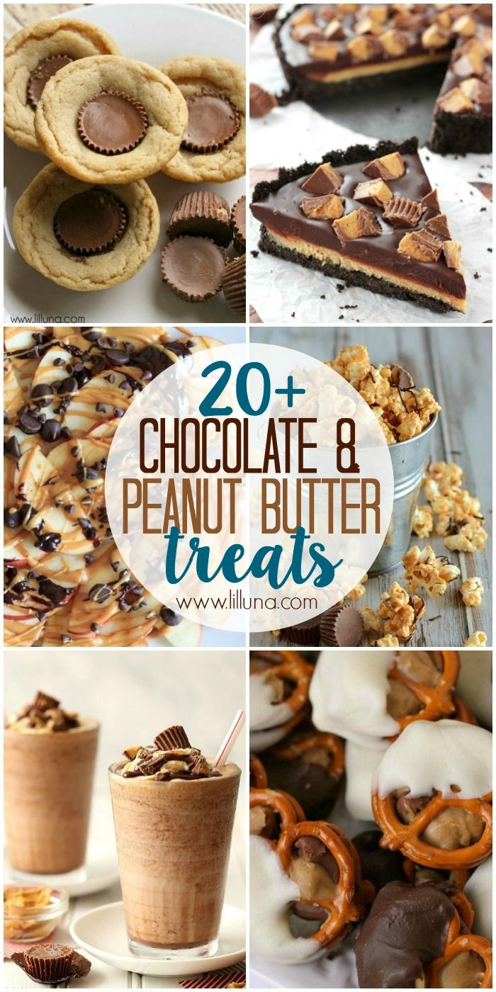 Chocolate + Peanut Butter - THE BEST combo, am I right! Lucky for you, we have a roundup of 20+ all time fave chocolate and PB treats over at { lilluna.com}!