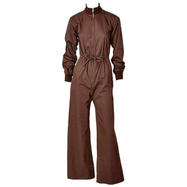 Preowned Yves Saint Laurent Chocolate Brown Jumpsuit ($1,095) ❤ liked on Polyvore featuring jumpsuits, brown, yves saint laurent, wide leg jumpsuit, jump suit, zipper jumpsuit and yves saint-laurent jumpsuit
