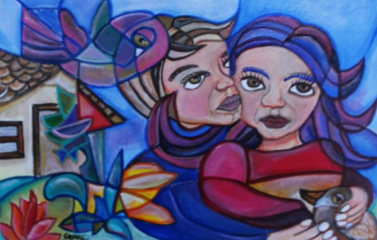 Título de la Obra La Granja en Bromley Soporte Papel de 300 g para Acrílicos. Medidas 21cm x32,5cm - Técnica Acrílicos  Autora Sandra Viviana Rossi     Año 2014