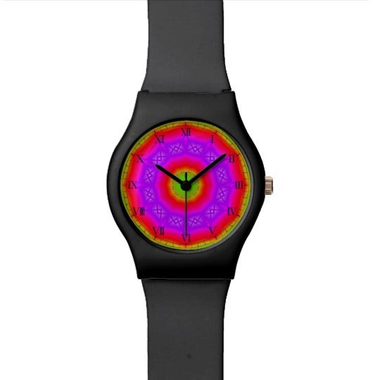 Happy Colors Watch by www.zazzle.com/htgraphicdesigner* #zazzle #gift #giftidea #wrist #watch #wristwatch #abstract #colorful #woman