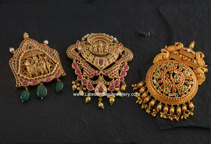 Exquisite Gold Temple Jewellery Pendants | Latest Indian Jewellery Designs