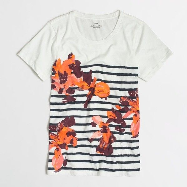 J.Crew Factory floral striped collector T-shirt in airy cotton ($25) ❤ liked on Polyvore featuring tops, t-shirts, floral print tee, stripe t shirt, striped cotton tee, floral print top and j crew t shirts