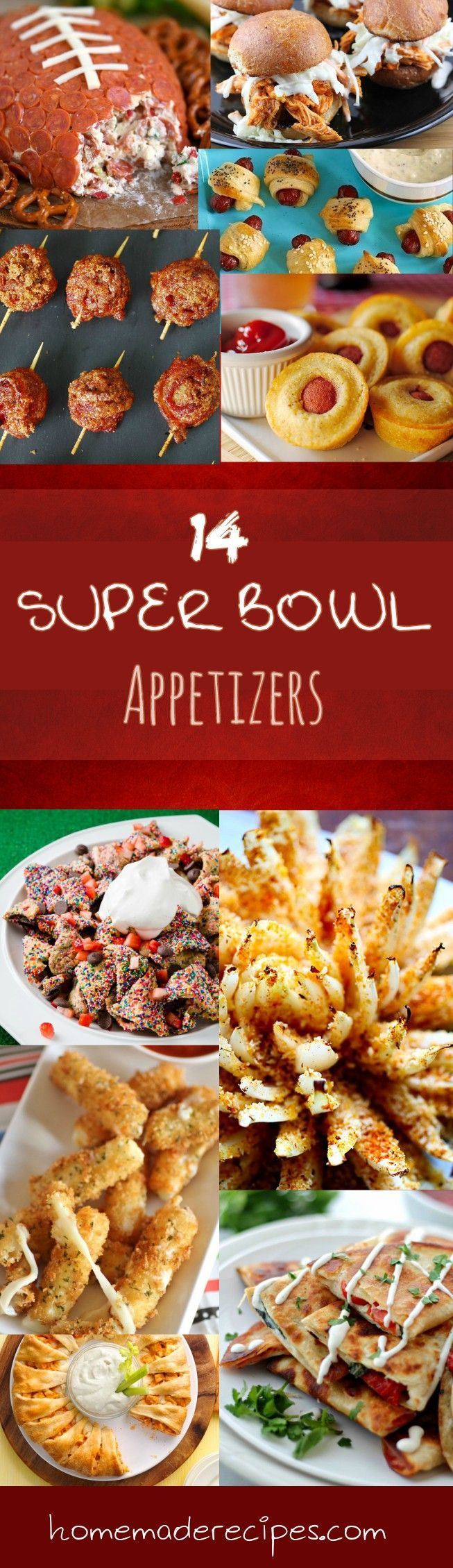 14 Super Bowl Appetizers | Delicious On The Go Food Recipes - A Must For A Big Game! by Homemade Recipes http://homemaderecipes.com/quick-easy-meals/14-super-bowl-appetizers/
