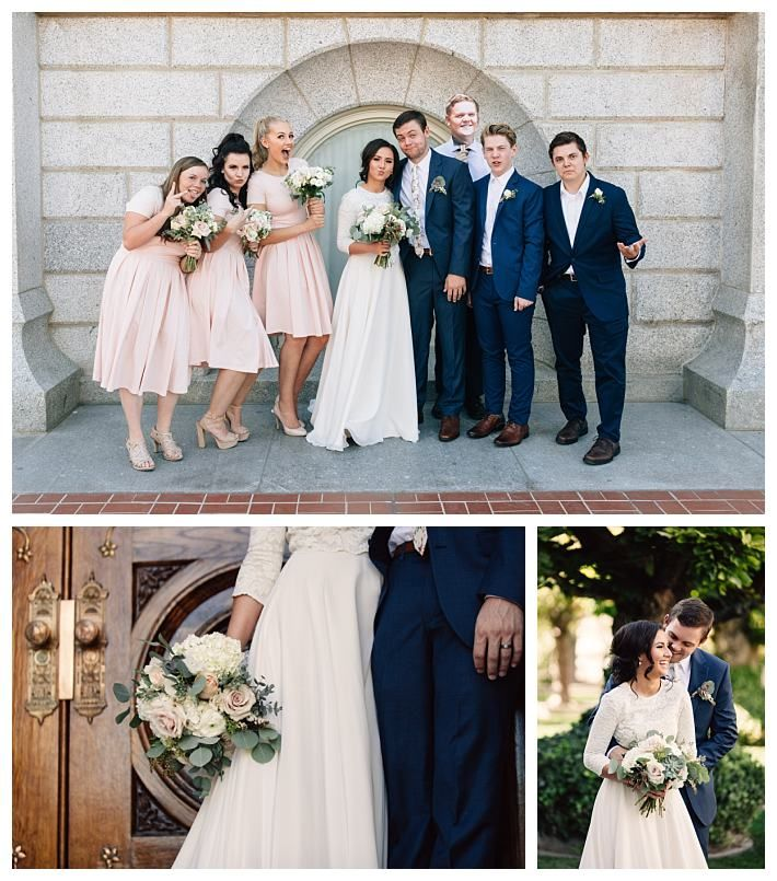 bridal party at the Salt Lake Temple in navy and blush | LDS Bride Blog | Blush & Navy | fall | September | Salt Lake Temple | Mormon | lace | Wadley Farms | Utah