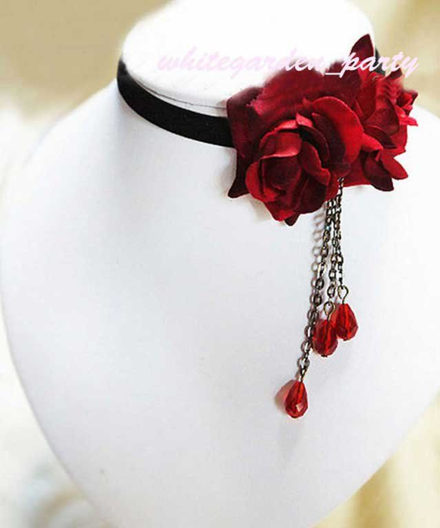 Black Double Red Rose Rococo Goth Cocktail Party Bridal Velvet Necklace