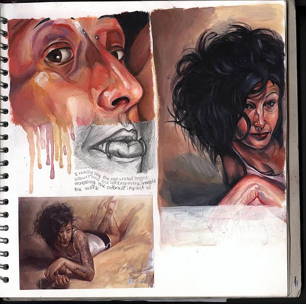 Art sketchbook, A Level (Fine Art): a beautiful, rich sketchbook page showing imitation of paintings by artist Shawn Barber.