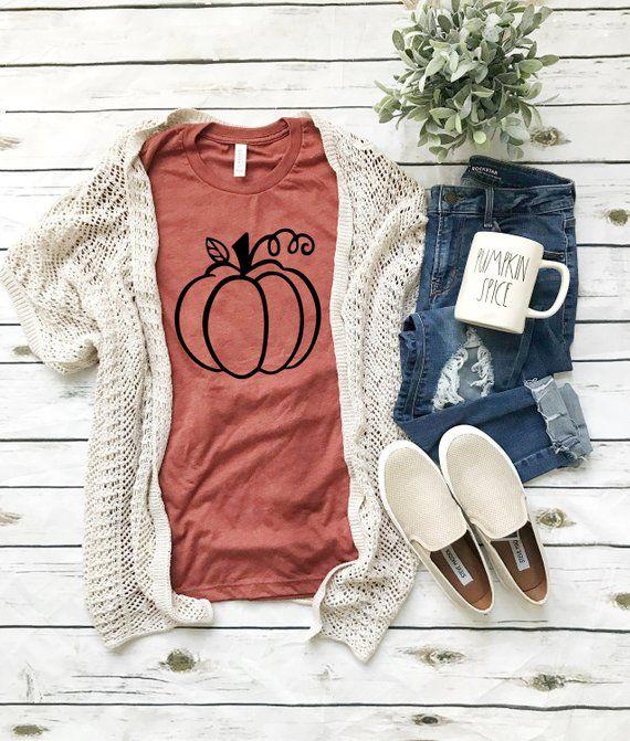 Womens fall shirt, cute fall tshirt, pumpkin shirt,  fall shirt women, hello fall shirt, fall tshirt