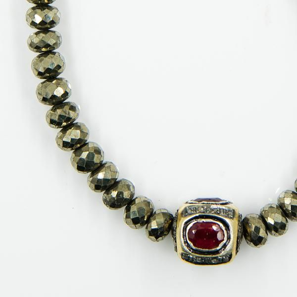 Pyrite And Ruby Beaded Necklace Black Diamond Chain Ruby Beads
