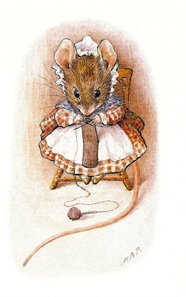 mouse knitting; Beatrix Potter