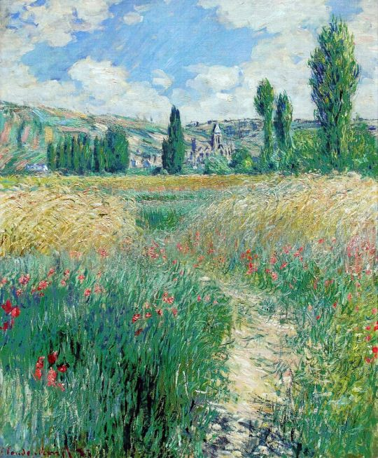 Claude Monet, Sentier dans l'Ïle de Saint-Martin (Path on the Island of Saint Martin, Vétheuil), 1881. Oil on canvas, 773.7 x 59.7 cm. Museum of Art Philadelphia.