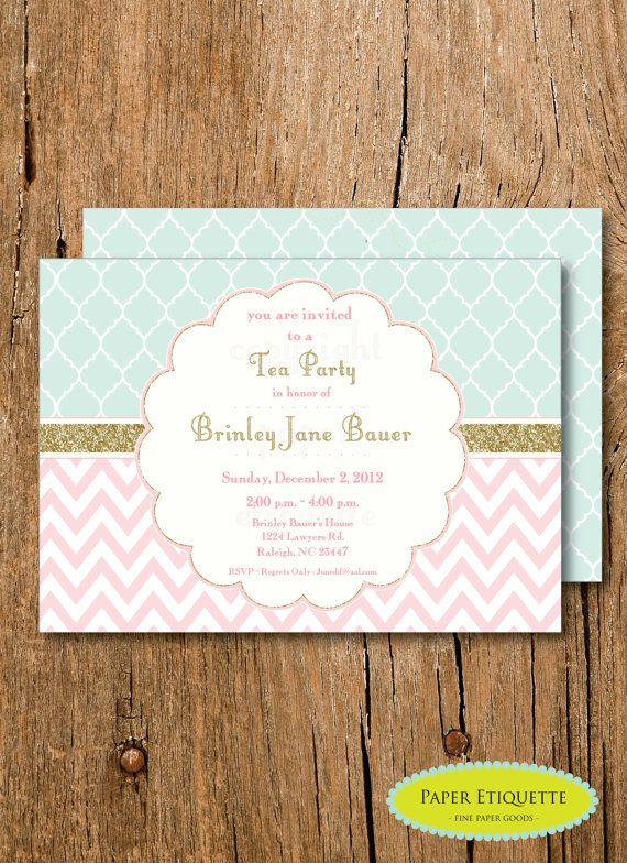 Mint, Gold Glitter and Pale Pink Baby Shower Chevron Invitation, Sip and See Tea Party, Wedding Shower, Oh What Fun Turning One Invite