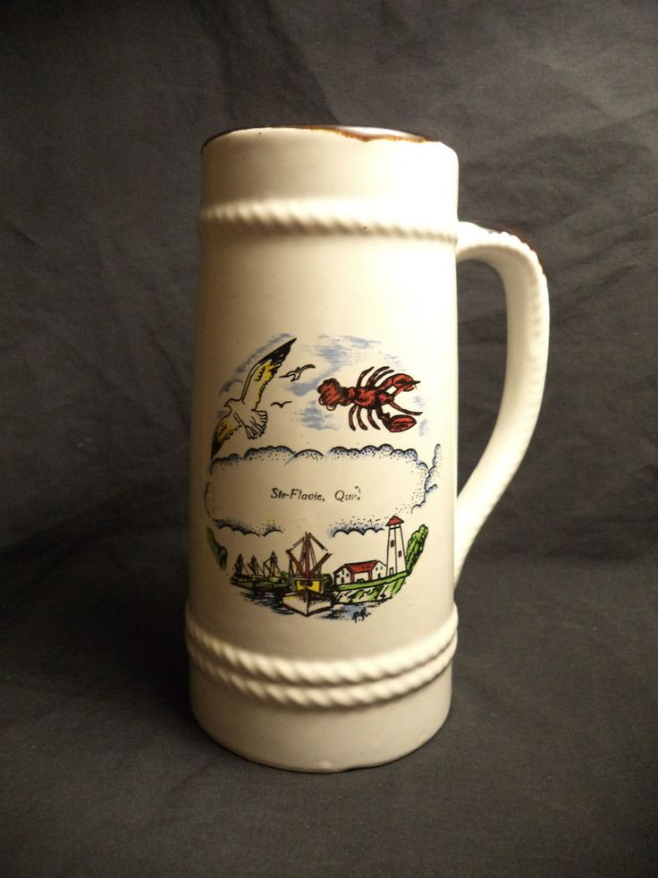 Large White Ste-Flavie Lobster Seagull Fishing Boat Wood Stain Handle Mug Stein
