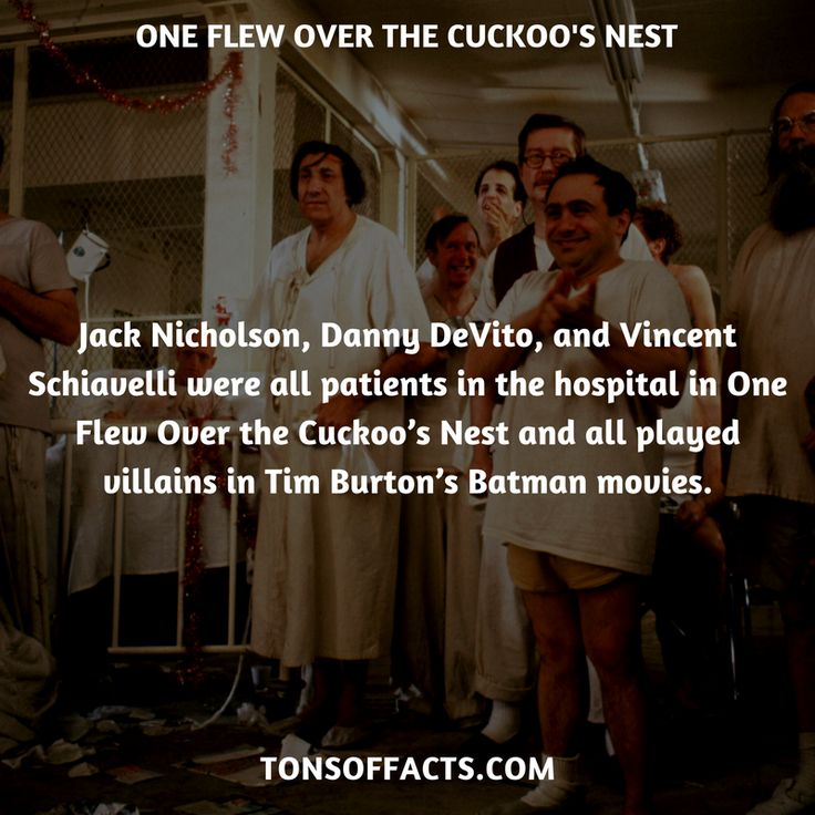 Jack Nicholson, Danny DeVito, and Vincent Schiavelli were all patients in the hospital in One Flew Over the Cuckoo's Nest and all played villains in Tim Burton's Batman movies. #oneflewoverthecuckoosnest #movies #interesting #facts #fact #trivia #awesome #amazing #1 #memes #moviefacts #movietrivia #oneflewoverthecuckoosnestfacts #oneflewoverthecuckoosnesttrivia