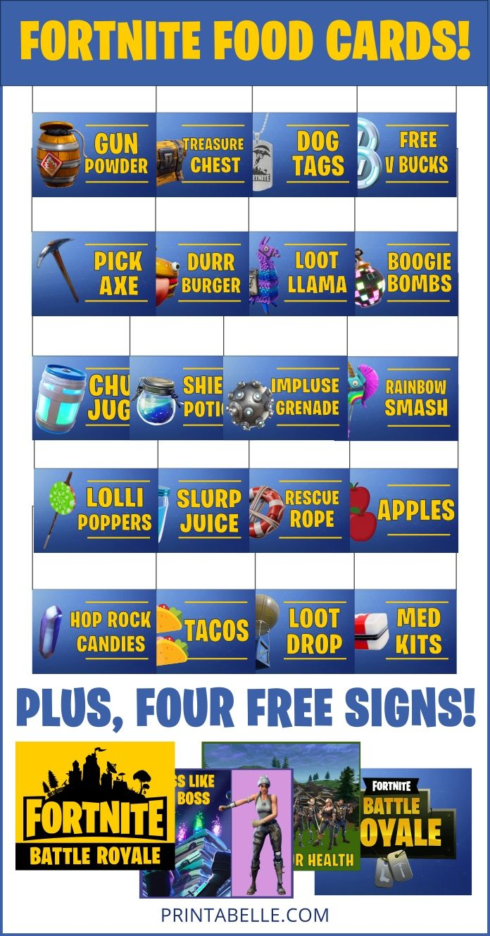 Fortnite Food Cards Party Printables Birthday Party Printables Free Birthday Party Printables Party Printables Free