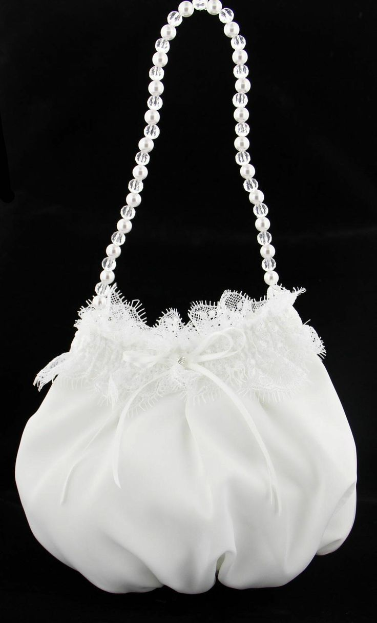 First Communion Purse, Satin with Chantilly Lace Trim from Catholic Faith Store (One Size, White)