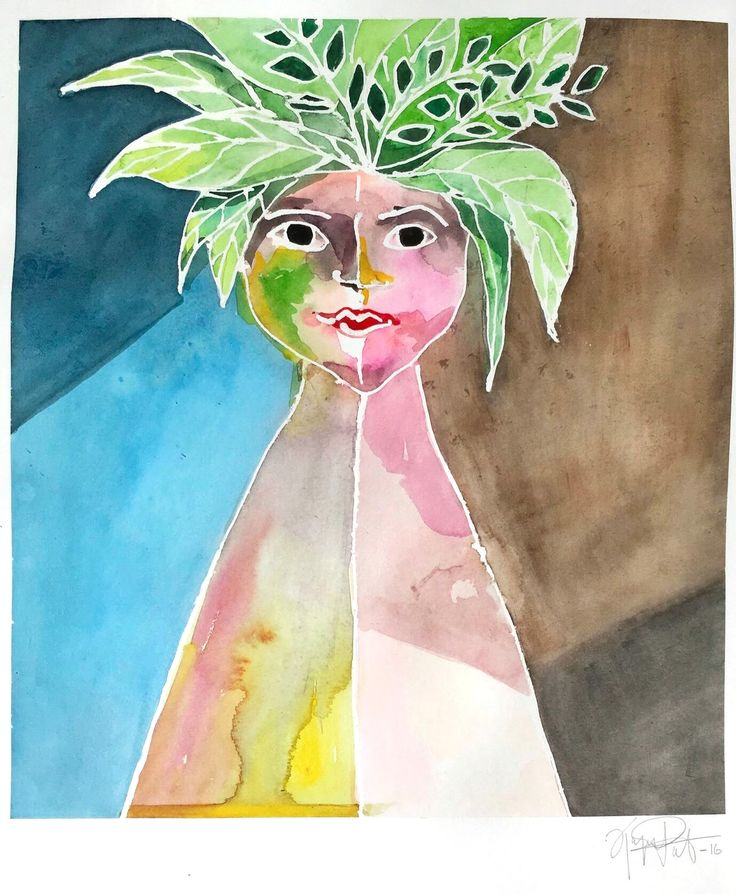 With Leafs, 50x70cm, watercolor by ©Kajsa Paludan  #girl #watercolor #colorful #leafs #exotic #brown #blue #yellow #green #pink #Swedish