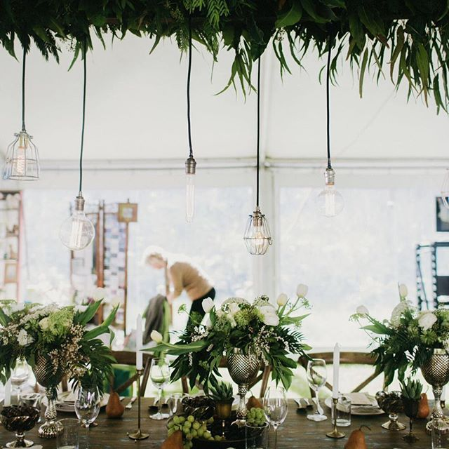 Reminiscing @mableandgrace image by the gorgeous @aimeedehaan #mableandgrace #margaretriver #marrydownsouth #margaretriverweddings #styling #tablestyling #raw #rustic #natural #hanginginstallation #foliage #white #engagedandinspired #weddinginspo #weddingflowers lighting by @wildwoodlighting