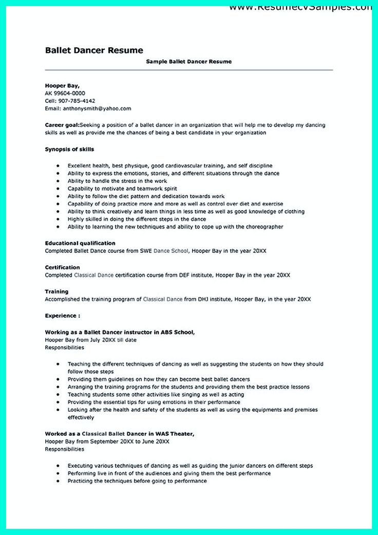 Dance Resume Example | Resume Examples And Free Resume Builder