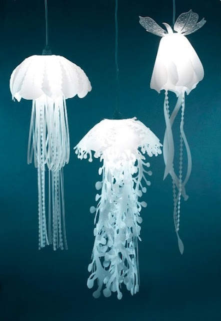 Jellyfish-Inspired  lamps would be awesome in a kids room!
