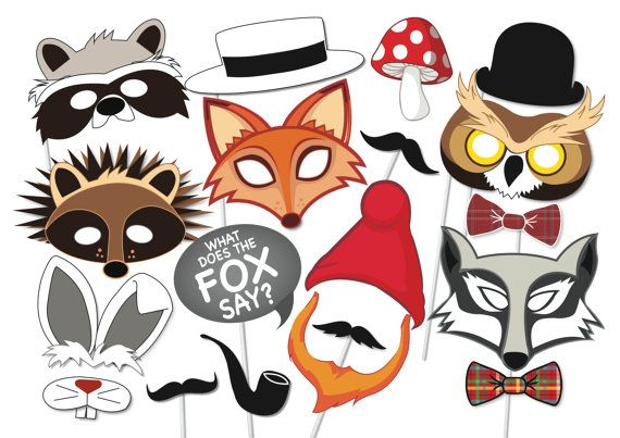 Here is the ultimate collection of woodland forest animal photo booth props! Tons of Fun!! Great for a table centre piece or photo booth.