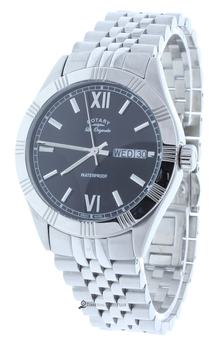 Rotary GB90100/10 Men's Watch Classic Swiss Made Stainless Steel Band Black Dial