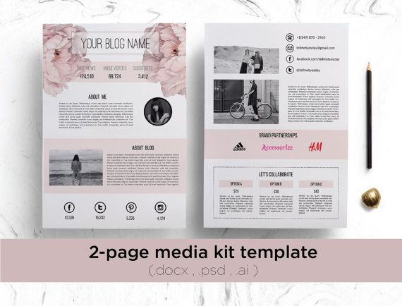 2 pagina media kit sjabloon florale achtergrond / door ChicTemplates