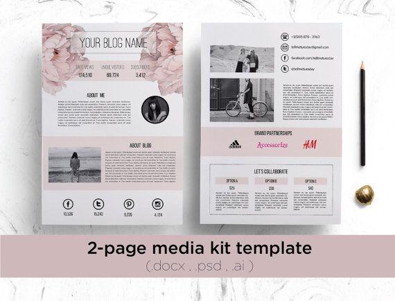 2 page media kit template ( floral background ) / elegant blog press kit…