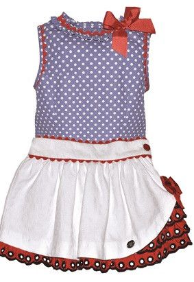 SS16 Dolce Petit Girls Blue, Red and White 2 Piece Skirt Set - 2235 2…