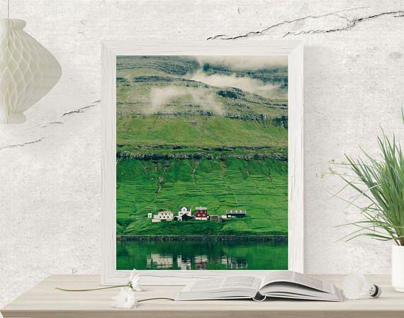 Faroe Islands Photography Mountains print Greenery Wall Art