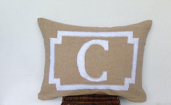 Wedding Gift Small Pillow Cover Monogram Khaki Pillows -Decorative Appliqued Letter Pillows with border-Children pillows