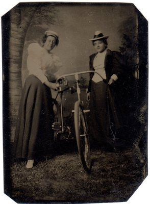 RARE Tintype Photo Bicycle enthusiasts Two Wild Women Riding Outfits Hats C1890s   eBay