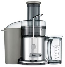 """Sage Nutri Juicer BJE410UK - The Sage Nutri Juicer is a superb value centrifugal juicer. Sage Juicers are the long awaited updated models of Breville Juicers used by Joe Cross in his life changing  juicing movie """"Fat, Sick and Nearly Dead"""". The Sage Nutri Juicer features a large 84mm feeding chute which makes juicing extremely fast and convenient with no chopping required.  The 2 speed motor allows you to juice soft items at a lower speed for maximum extraction while harder items can be…"""