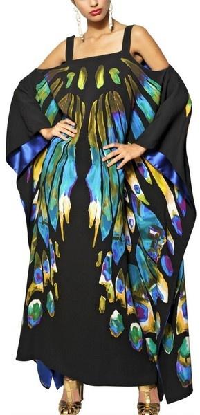 Printed Viscose Cady Long Kaftan Dress - Lyst