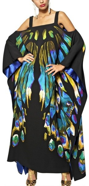 Printed Viscose Cady Long Kaftan Dress - Lyst