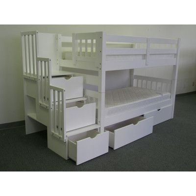 Bedz King Twin Over Twin Bunk Bed with Drawer & Reviews | Wayfair