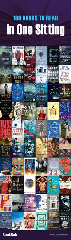 100 books to read in one sitting, including suspenseful thrillers, psychological thrillers, short historical fiction novels, steamy romance books, short classics, and more.