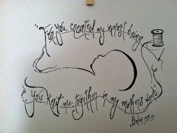Custom ORIGINAL Psalm 13913 Scripture Doodle by worshipartist, $30.00