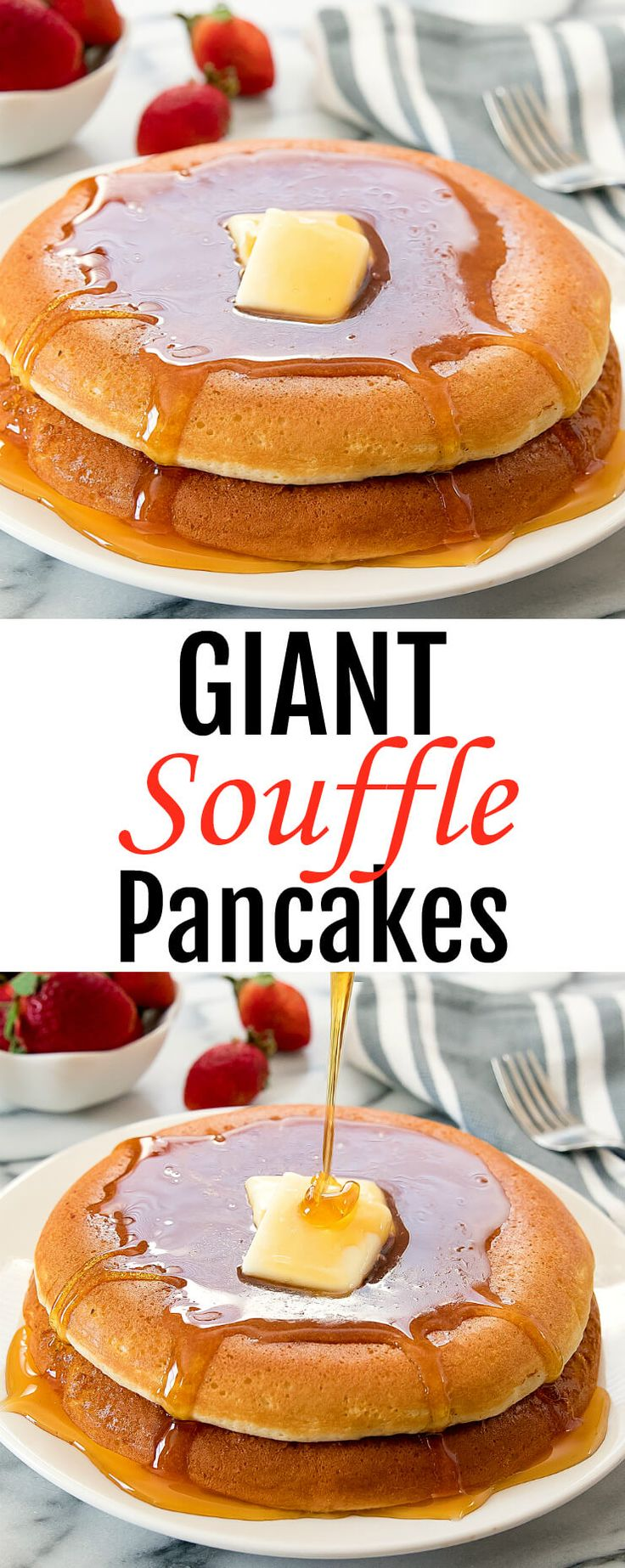 Giant Souffle Pancakes. Inspired by Japanese-style souffle pancakes, these giant pancakes are light and fluffy, cooked on the stove top, and make a fun brunch or breakfast.