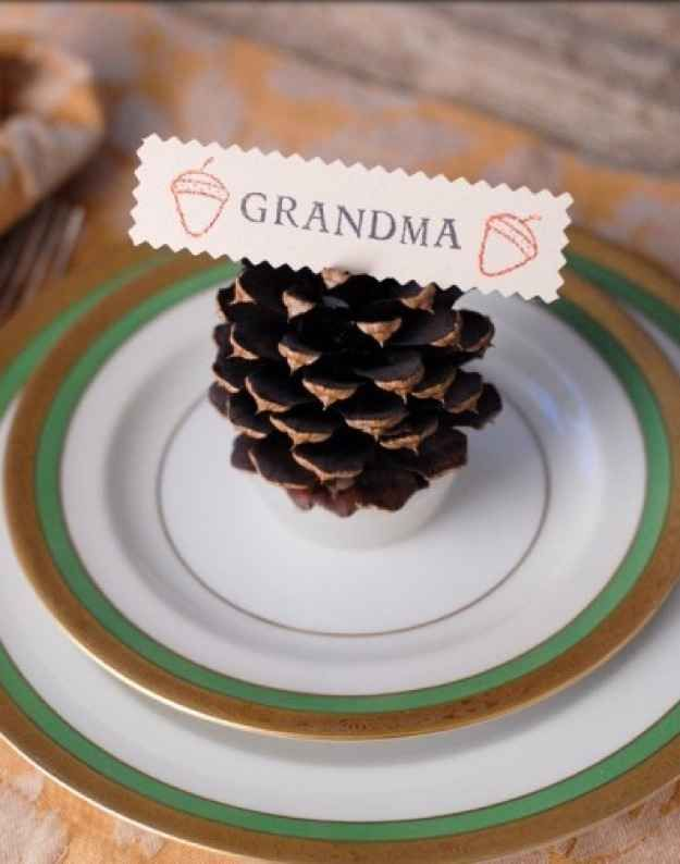 Pinecone fire-starters make cute and useful place cards.