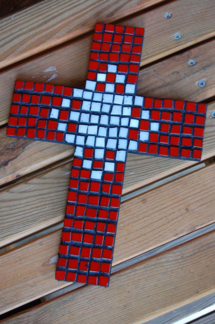 Mosaic Cross - Red & White
